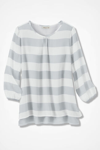 Sheer Striped Layered Blouse, Grey, large