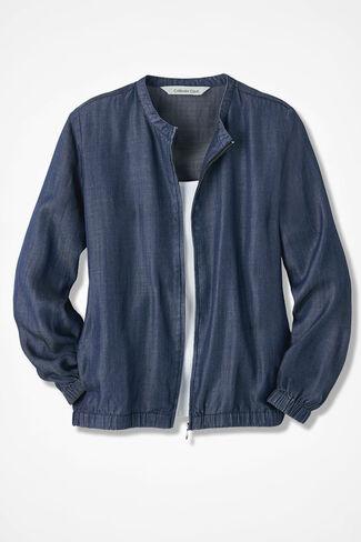 On-the-Go Tencel Bomber Jacket, Medium Blue Wash, large