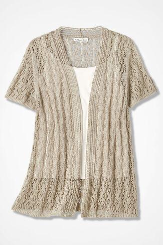 Breezy Open Pointelle Cardigan, Brushed Khaki, large