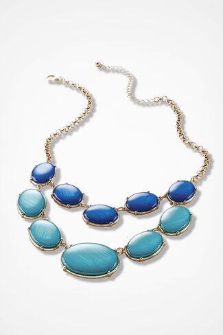 Colorful Cabochon Necklace, Cerulean, large