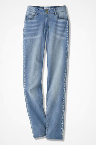 The Creek® Embroidered Slim-Leg Jeans, Light Wash, large