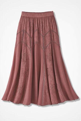Embroidered Jacquard Skirt, Canyon Rose, large