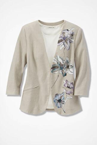 Floral Palette Linen Jacket, Flax, large