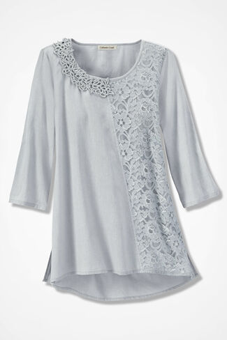 Love of Lace Linen Tunic, Dove Grey, large