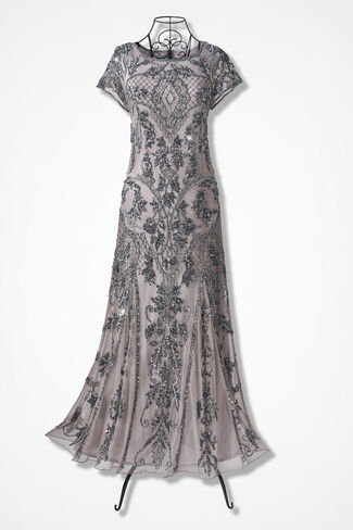 Enchantée Beaded Dress by Pisarro Nights, Silver, large