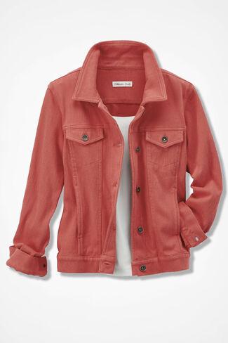 New Knit Denim Jacket, Washed Coral, large