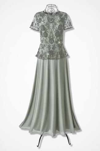 Nightflower Beaded Peplum Dress by Pisarro Nights, Sage, large