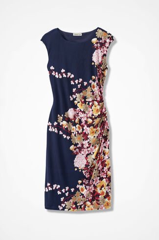 Compliments Cap-Sleeve Dress, Navy Multi, large