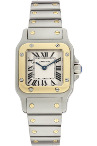 18K Yellow Gold and Stainless Steel Santos Galbee Quartz