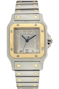 18K Yellow Gold and Stainless Steel Santos Quartz