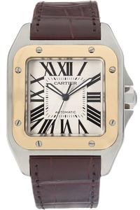18K Yellow Gold and Stainless Steel Santos 100 Automatic