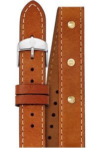18MM Saddle Calfskin Gold Stud DoubleWrap Strap