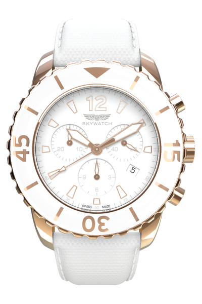 44 mm White & Rose Gold Chronograph