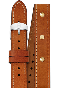 16MM Saddle Calfskin Gold Stud Double Wrap Strap