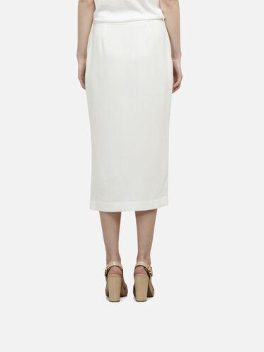 Crepe Woven Skirt, WHITE, hi-res