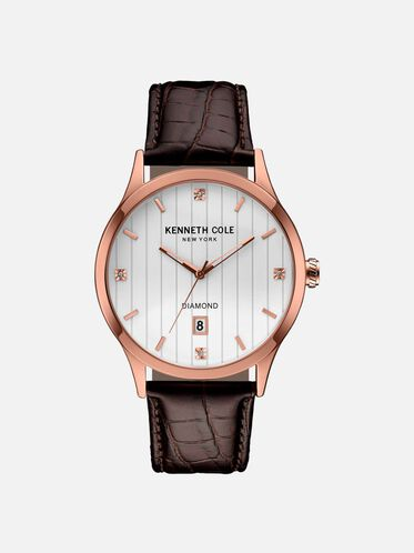 Rose Gold-Tone Watch With Croco Embossed Leather Strap, NO COLOR