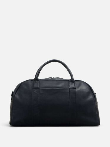COLOMBIAN LEATHER SINGLE GUSSET DUFFLE, BLACK, hi-res