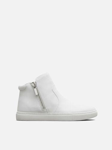 Kiera Leather  Sneaker, WHITE, hi-res