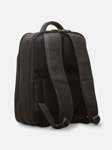 Leather Double-Gusset Backpack, BLACK, hi-res