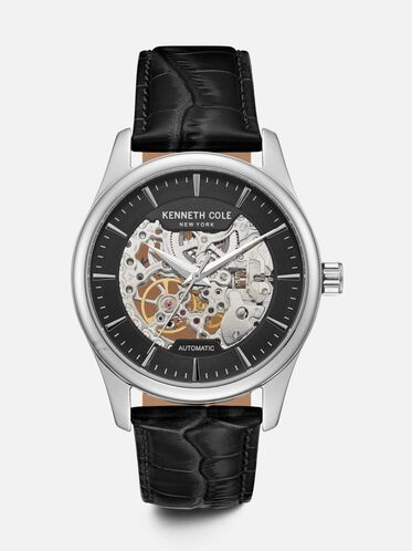 Silver Skeleton-Dial Watch with Croco-Leather Strap, NO COLOR, hi-res
