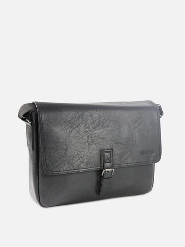 SINGLE-GUSSET MESSEGNER BAG, BLACK, hi-res