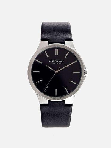 Slim Black Leather Strap Watch, NO COLOR