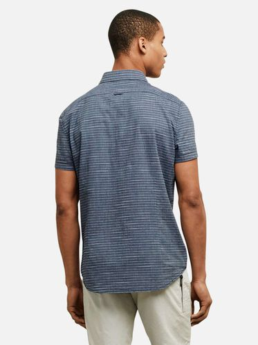 HORIZONTAL STRIPED BUTTON-FRONT SHIRT, INDIGO COMBO, hi-res