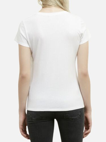 Fitted Crewneck Tee, WHITE, hi-res