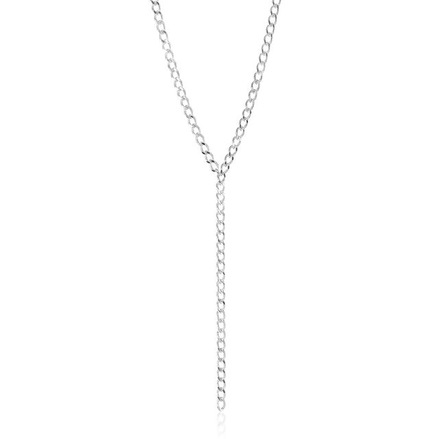 Curb Necklace Rhodium Plated Providence, Rhodium Plated, hi-res