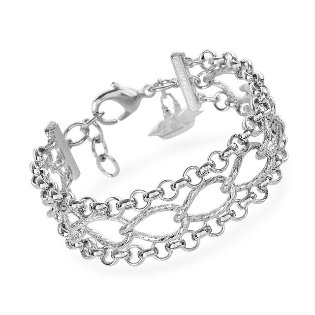 Three Row Chain Bracelet Rhodium Plated Providence, Rhodium Plated, hi-res